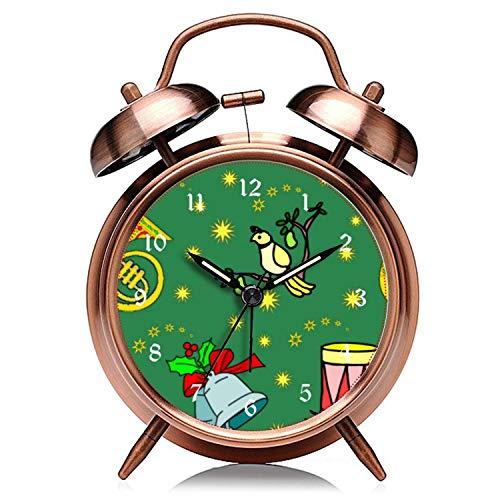 girlsight Weihnachtskupfer Retro Clock Silent mit Nachtlicht Double Bell Wecker 248.Weihnachten, Rebhuhn und Schlagzeug Wecker