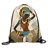 Mabell African Art Women Unisex Outdoor Gym Sack Bag Travel Drawstring Backpack Bag