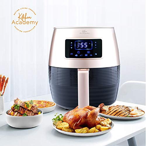 Kitchen Academy Air Fryer (50 Recipes), 5.5 Qt Electric Hot Air Fryers XL Oven Oilless Cooker, 7 Cooking Preset, LED Digital Touchscreen,Nonstick Basket,ETL/FDA Listed,1400W, Glod