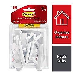 Command Hooks, Indoor Use, Organize Damage-Free, White, 20 hooks, 24 strips (17001-MPES)