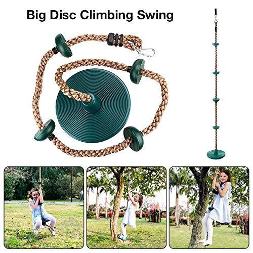 lembrd Outdoor Kletterseil mit 5 Knoten - Scheibenschaukel - Bewegungstraining für Kinderschaukelkletterseil - mit Verbindungsgurt + Karabiner
