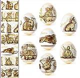Pellicola artigianale ucraina per uova di Pasqua, decorazione con conigli dorati n. 90, sufficiente per 7 uova, in realtà i colori sono molto più intensi rispetto all'immagine