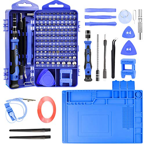 Precision Screwdriver Set Computer Repair Kit, 128 In 1 DIY Repair Tools with Anti Static Mat, ESD Wrist Strap, Magnetic Screw Driver Kit for Phone/Mac/Pad/Laptop/PC/Xbox/PS4/Nintendo Switch/Watch