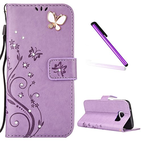 Galaxy S6 Case, LEECOCO Embossed Floral 3D Handmade Bling Crystal Diamonds Butterfly with Card Slots Magnetic Flip Stand PU Leather Wallet Case for Samsung Galaxy S6 Light Purple Bling Butterfly