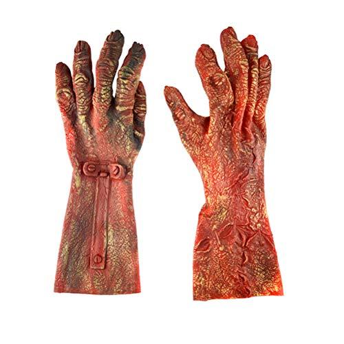 BESTOYARD Halloween Zombie Handschuhe Latex Teufel Handschuhe Horror Tier Handschuh Ganze Maskerade Halloween Cosplay Zubehör 1 para (große Größe)
