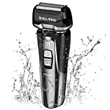 INSMART Electric Shaver for men, Waterproof Wet/Dry USB Quick Rechargeable Cordless Electric Razor with Led Display, Travel Lock & Pop Up Trimmer-Black (Black)