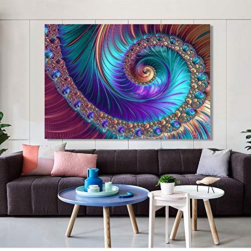 SADHAF Poster und Druck Wandkunst Leinwand Malerei abstrakte Kunst kreative fraktale Muster für Wohnzimmer Wohnkultur A2 40x50cm