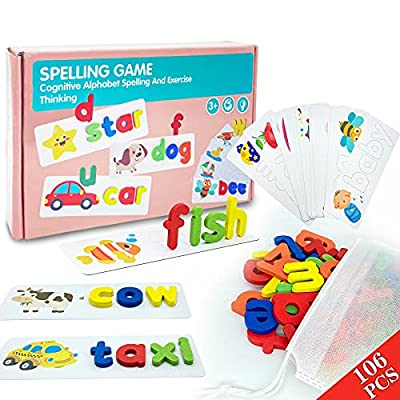 See & Spell Matching Letter Game Toy for Kids Learning Educational Alphabet Flash Cards Wooden Letter Puzzle Gift for 3 4 5 Years Old Boys and Girls 106PCS CVC Word Builders(78 Letters and 28 Cards ) from BOZTX