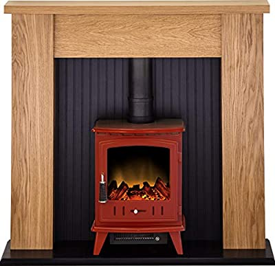 Adam New England Stove Suite in Oak with Aviemore Electric Stove in Red Enamel, 48 Inch