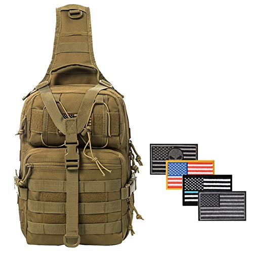 SHELCUP EDC Sling Bag Pack, Rover Shoulder Molle Backpack, Volume 20L with 4 Patches, Coyote