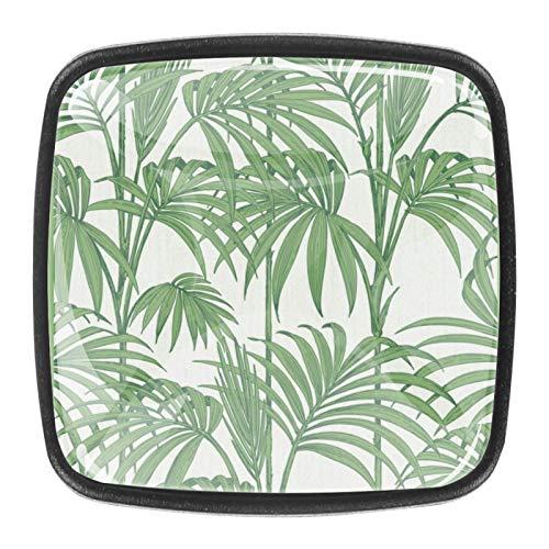 Pomos de puerta para gabinete de cocina, hojas de palma, color verde tropical, tiradores de cajones, tiradores de puerta para oficina, baño, aparador, 4 unidades