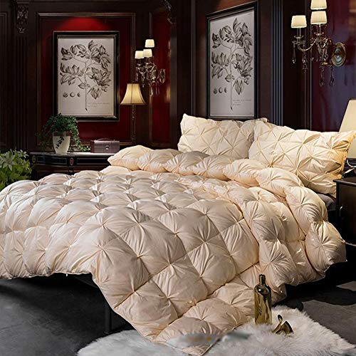 JXING Duvet Bedding 100% Cotton Fabric Mite Proof Anti-allergy White Goose Feather Down Filled Core Thicken Warm Lightweight Double Winter Quilt