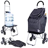 dbest products Stair Climber Bigger Trolley Dolly, Black Grocery Shopping Foldable Cart...