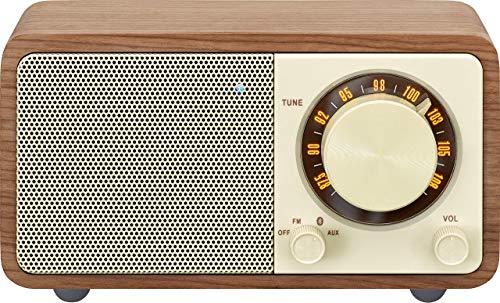 Radio de escritorio portátil Sangean WR-7 (sintonizador FM-RDS, Bluetooth, entrada auxiliar, altavoz incorporado, batería recargable (recargable)), nogal