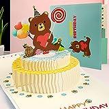 Biglietti Augurali Compleanno, Biglietto di Auguri Pop-Up 3D con Busta, Biglietto di Auguri per la Festa Della Mamma, Carta Regalo 3D per la Festa Del Papà, Squisita Carta Tagliata (Torta di orso)