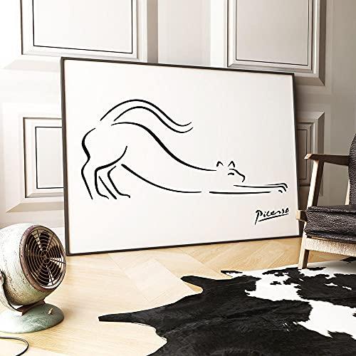 Picasso ピカソ抽象線猫の絵Picasso ピカソ展キャンバスアートポスター Poster モダンミニマリストウォールアートパネルフラワーキャンバスアートアートパネルプリント家の壁飾り40x60cmフレームなし 名画 絵画 インテリア おしゃれ ポスター 北欧 フレームなし