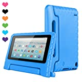 CAM-ULATA Amazon Kids Kindle Fire 7 Case 2015 Release for Boys&Girls, Tablet 7 inch Cover Shock Proof Protective with Handle Stand Holder Light Weight (Previous Generation - 5th) Blue