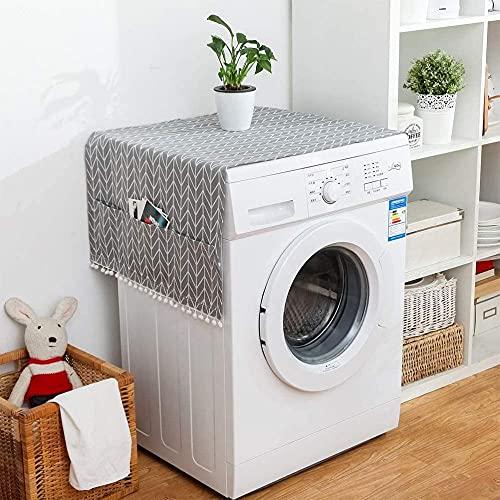 WKONAK - Frigorífico versátil que cubre la tapa de la lavadora con polvo de frigorífico con bolsillos de almacenamiento (negro 30 x 90 cm), 30 x 90 cm _ gris