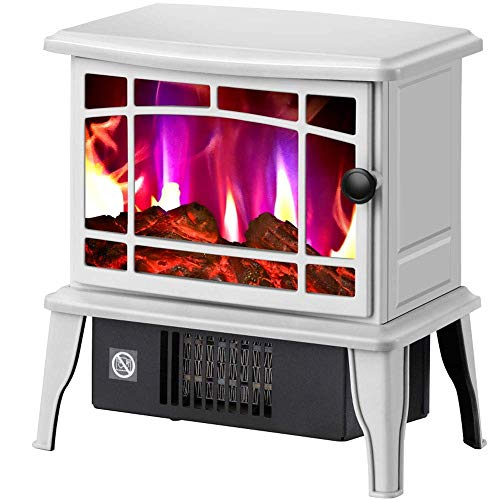 H.aetn Electric stove heater with wood burner flame effect portable stove free-standing fireplace heater interior heater -1500W white