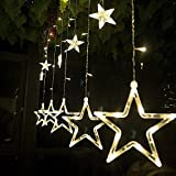 Yongf String Lights 12 Stars 138 LEDs String Curtain Lights,3M Hanging Lighting Outdoor Waterproof Linkable Copper Window Lights Decoration for Wedding,Christmas,Holiday,Party,Home (Warm White)