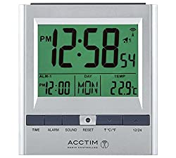 This Radio Controlled alarm clock is tuned to UK's Atomic Clock transmitter. Featuring fully automatic set-up and adjustment to summer/winter time changes. With two independent alarms, this radio controlled clock from Acctim is perfect for couples wh...