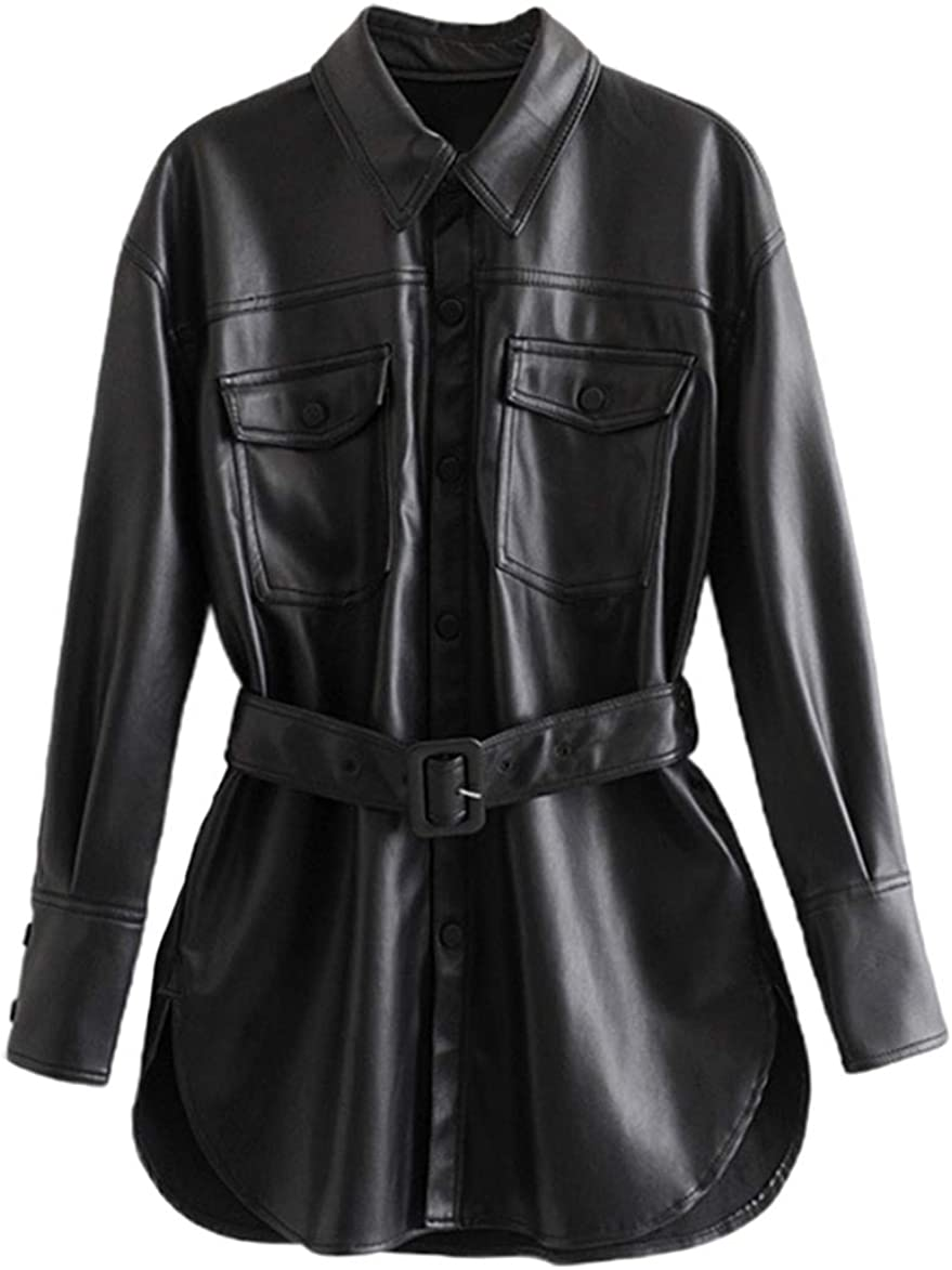 chouyatou Women's Cool Elegant Mid-Length Belted Faux Leather Shirt Jacket Shacket
