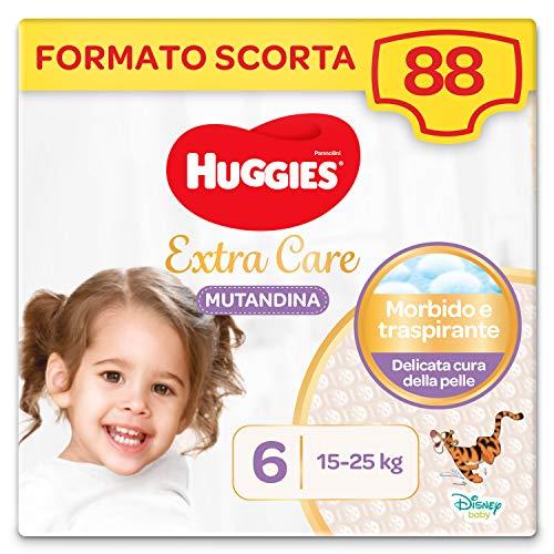 Huggies Extra Care Pannolini Mutandina Taglia 6 (15-25 Kg), Confezione da 88 Pannolini Mutandina