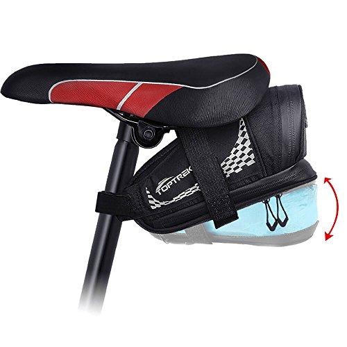 toptrek Satteltasche Fahrrad Fahrradtasche Klein Wasserdicht Fahrrad-satteltasche von 0,6L bis 1L Rücklicht Kompatibel für Mountainbike/MTB/Rennrad/ebike (Schwarz)