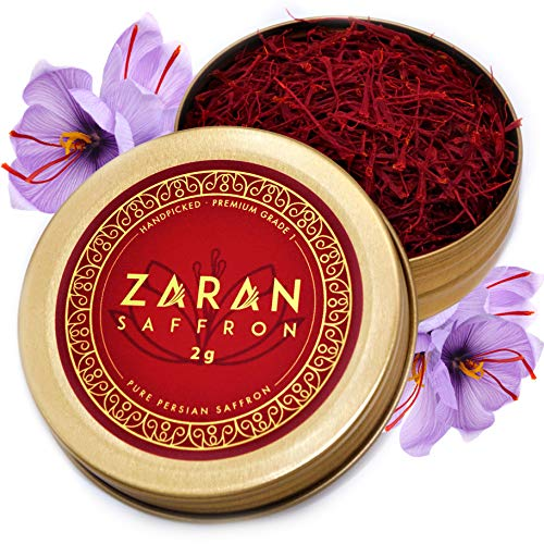 Zaran Saffron, Superior Saffron Threads (Premium) All-Red Saffron Spice for your Paella, Risotto, Persian Tea, Persian Rice, and Golden Milk) (Persian (Super Negin), 2 Grams)