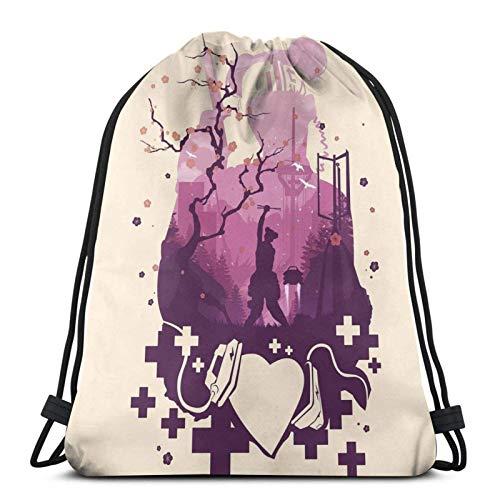 Lifeline Loveline Drawstring Backpack Gym Sack Pack Solid Cinch Pack Sinch Sack Sport String Bag with Pocket Beach Bag