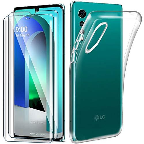 HYMY Hülle für LG Velvet 4G + 2 x Schutzfolie Panzerglas - Transparent Schutzhülle TPU Handytasche Tasche Durchsichtig Klar Silikon Hülle für LG Velvet 4G (6.8