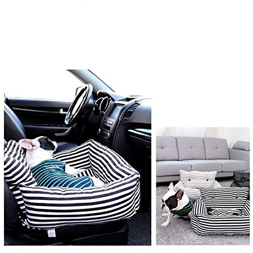 Easy to use Dog Car Seat for the Rear Seat-fixed 60 * 45 * 35cm with a Strong Fiberglass Rod, Backrest Protection for the Rear Seat Easy to install (Color : Dark stripes)