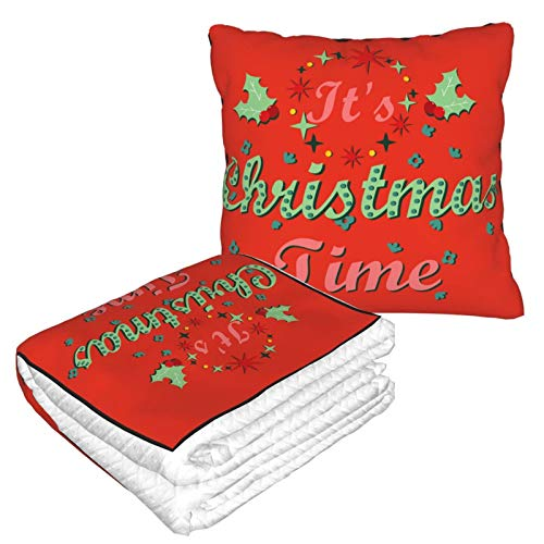 erFnIv Christmas Travel Throw Blanket Pillow 2 in 1 Flannel Fleece Best Wishes Warm Soft Large Home Office Trips Comfortable 13.8x13.8 Inches