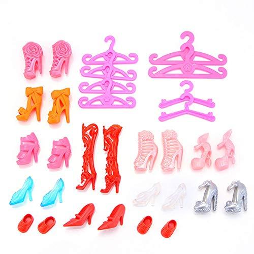 Euopat Kleidung Zubehör Für Puppe 106 Stücke,Puppenzubehör Einschließlich Schuhe Taschen Halskette Spiegel Kleiderbügel Geschirr Für Mädchen Kinder Party Geburtstagsgeschenke