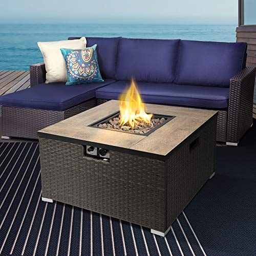 Peaktop Square Ceramic 19inch Firepit Outdoor Gas Fire Pit Steel with Lava Rock & Cover HF31188AA-UK, Black/Dark Brown