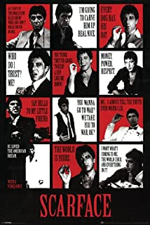 777 Tri-Seven Entertainment Scarface Poster Movie Quotes Al Pacino Large Print (24x36), Color