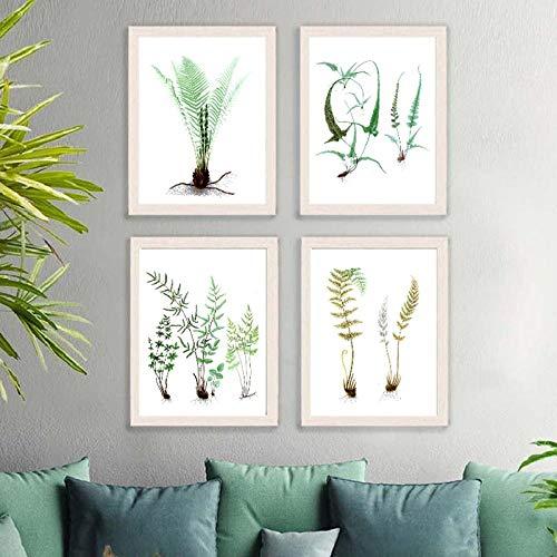 Aquarel varens groene planten blad posters en prints vintage botanische kunst aan de muur foto's natuurlijk schilderij thuis muur decor-50x70cmx4pcs geen frame