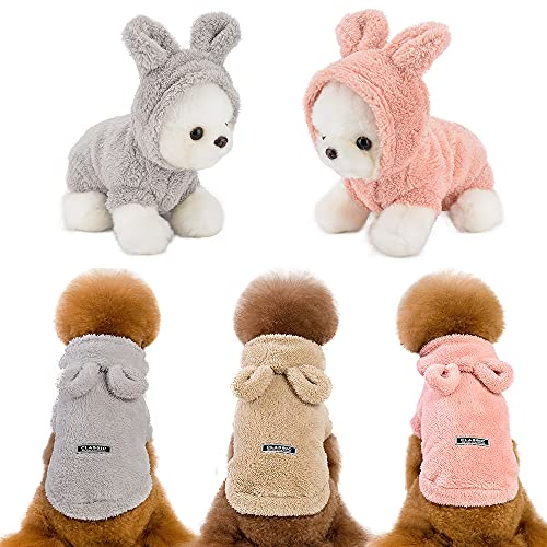 Set of 3 Puppy Sweater Small Dog Hoodie Winter Warm Fleece Pet Clothes Boy Girl Puppies Vest Hooded Cat Clothing Costume Coat for Yorkie Chihuahua Outfit Teacup French Bulldog Pug Breed (Small)