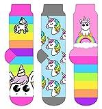 3er Pack Damen Einhorn Socken mit Bunt Regenbogen Streifen   Baumwolle Reich Witzig Socken   SOCK SNOB (Einhorn, 37-40)