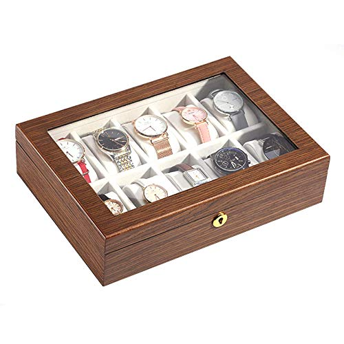 WMYATING The watch box is a symbol of successful people. Th Watch Box Case Organizer Display for Men Women, 10 Slot Wood Box with Lock and Key, Glass Top, Velvet Lining