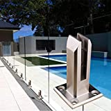 Abrazadera de vidrio, estantes de soporte de vidrio de acero inoxidable 5/16, 3/8, 1/2, 9/16 pulgadas, soportes de abrazadera vidrio plano superficie plana, cerca piscina, barandilla posterior