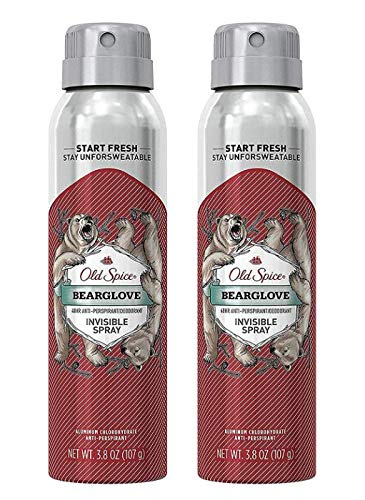 Old Spice Invisible Spray Antiperspirant and Deodorant, Bearglove, 3.8 oz (Pack of 2)