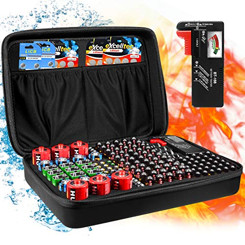 Geecow Battery Storage Organizer Case with Battery Tester Fireproof Waterproof Safe Carrying Case Bag Holds 140+ Batteries AA AAA C D 9V Black (Batteries Not Included)