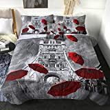 Sleepwish Paris Comforter Set Full Eiffel Tower Red Umbrellas Print Bedding Grey 4 Piece Rainning Street Modern French City Bed Set Vintage Paris Themed Comforter for Girls Women Black and White