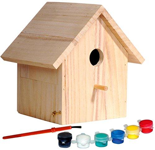 dobar 22368FSC Dekorativer FSC-Fichtenholz-Nistkasten für Kinder als Bastelset zum selber Bauen und Bemalen mit Pinsel