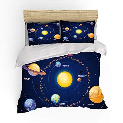 HNHDDZ Juego de Cama Funda nórdica Funda de Almohada Galaxia 3D Estrella Universo Lechoso Camino Planeta Ropa de Cama Infantil Niños Chico Chica (Galaxia 8, 150x200 cm - Cama 90 cm)