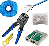UbiGear Pass-Through Tool Kits Cable Tester +Crimp Crimper +100 RJ45 CAT5 CAT5e Pass-through Connector Plug Network Tool Kits (PassThroughToolKits)