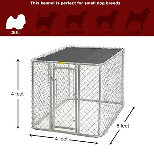 MidWest Homes for Pets Chain Link Portable Kennel with a Sunscreen, 6 by 4 by 4-Feet Arkansas