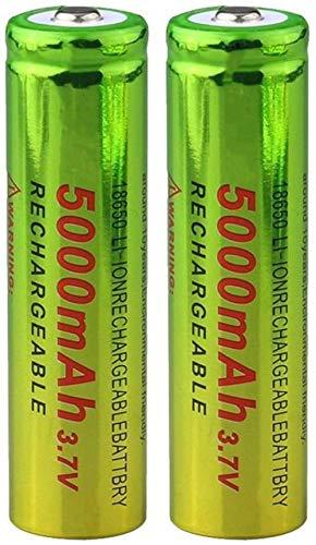 2 Piezas 3,7 v 18650 5000 Mah baterías de Iones de Litio Recargables Li-Ion para Linterna micrófono Radio Faro LED