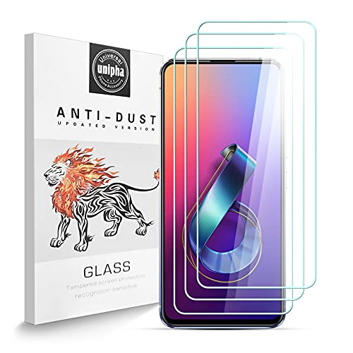 Zidwzidwei Protector de Pantalla para ASUS ZenFone 6 ZS630KL [3-Pack], Vidrio Templado de 9H Dureza, 2.5D Alta Definicion Alta Sensibilidad, Sin Burbujas ASUS ZenFone 6 ZS630KL Protector de Pantalla